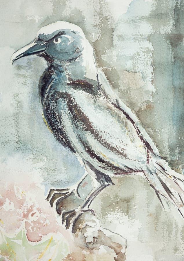 Błękitnawy kruk na gałąź z powiewnym tłem royalty ilustracja