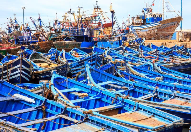 Błękitne łodzie Essaouira, Maroko obraz royalty free