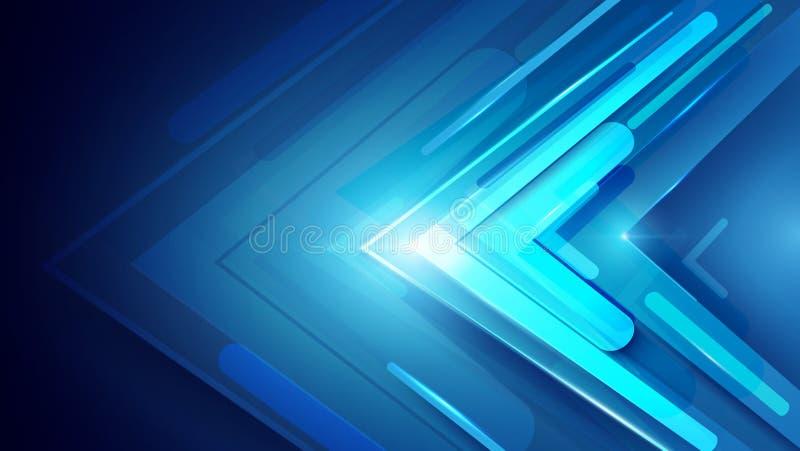 Błękitne abstrakcjonistyczne strzała podpisują cyfrowego technologii pojęcie cześć royalty ilustracja