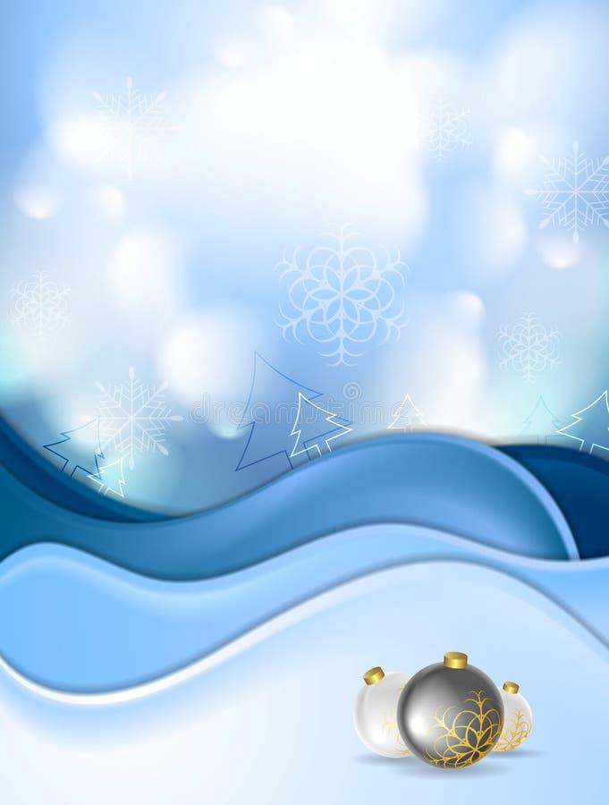 Błękitne boże narodzenie piłki i snowdrift royalty ilustracja