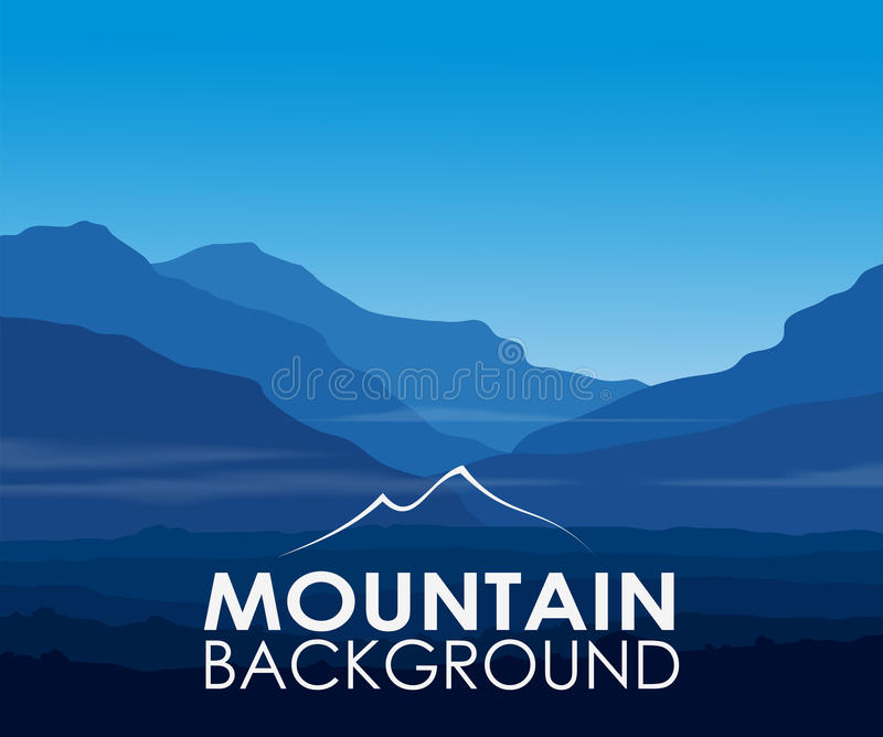Błękitne góry przy świtem ilustracji
