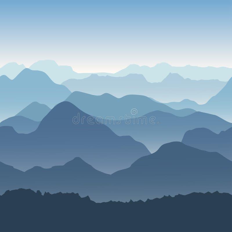 Błękitne góry w mgle Bezszwowy tło ilustracji