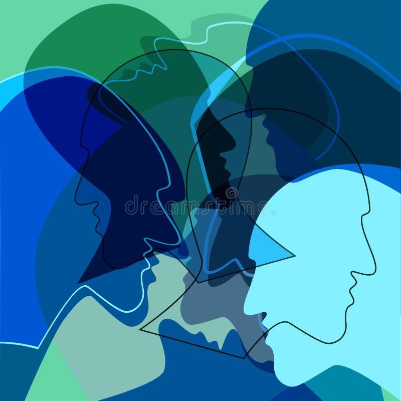 Błękitne głowy zaludniają pojęcie, symbol komunikacja między ludźmi royalty ilustracja