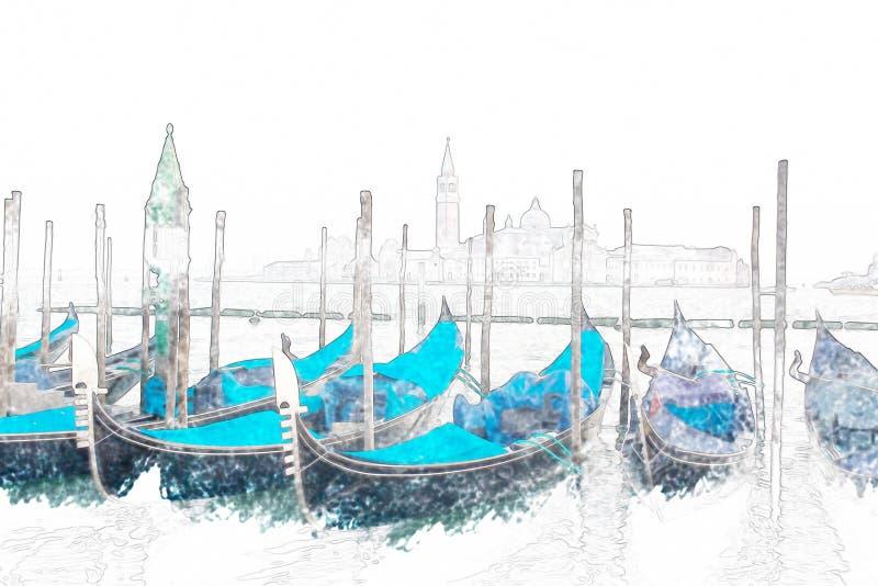 Błękitne gondole w Wenecja, Włochy royalty ilustracja