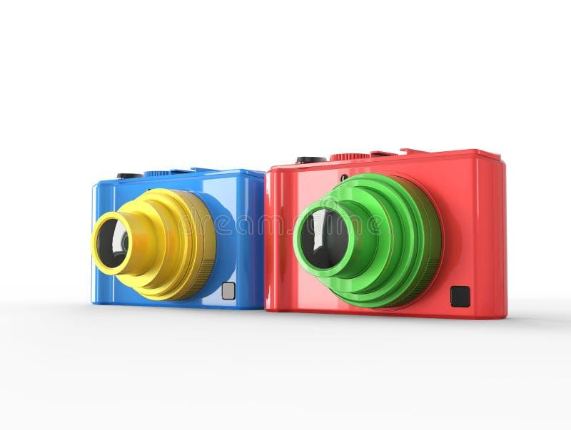Błękitne i czerwone ścisłe cyfrowe fotografii kamery ilustracja wektor