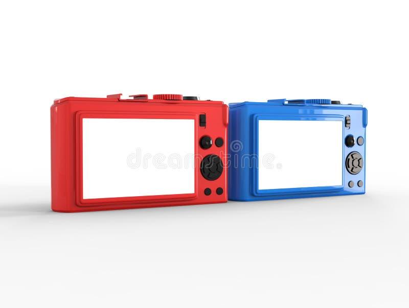 Błękitne i czerwone ścisłe cyfrowe fotografii kamery - tylny widok ilustracja wektor