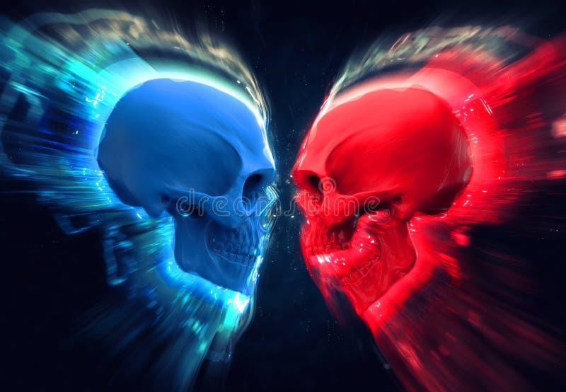 Błękitne i czerwone czaszki - łuny i smugi ilustracja wektor