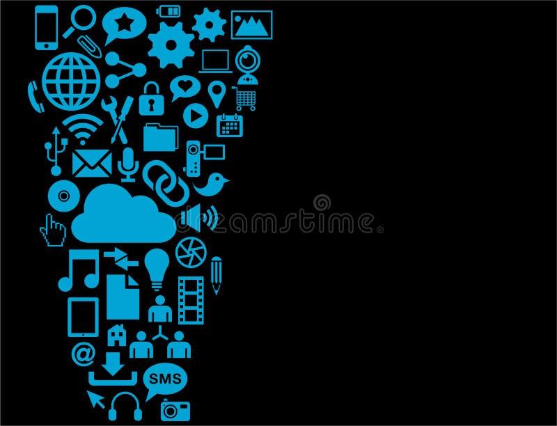 Błękitne interfejs użytkownika ikony  ilustracji