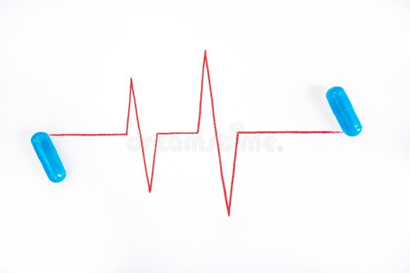 Błękitne kapsuły z pigułkami i puls linia rysująca w czerwonym ołówku na białej księdze zdjęcia royalty free