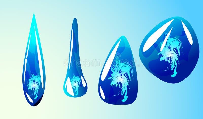 Błękitne kryształ wody krople ilustracji