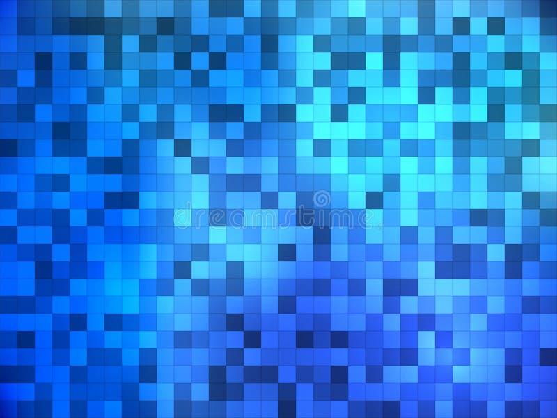 Błękitne mozaik płytki z wewnętrznym oświetleniem Abstrakcjonistyczny wektorowy backgr ilustracji