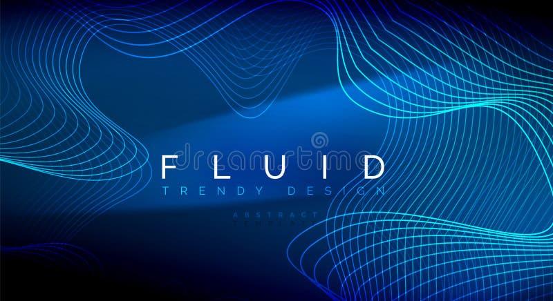 Błękitne neonowe cząsteczki jarzy się fluid falę wykładają, magiczny energii przestrzeni światła pojęcie, abstrakcjonistycznego t ilustracja wektor