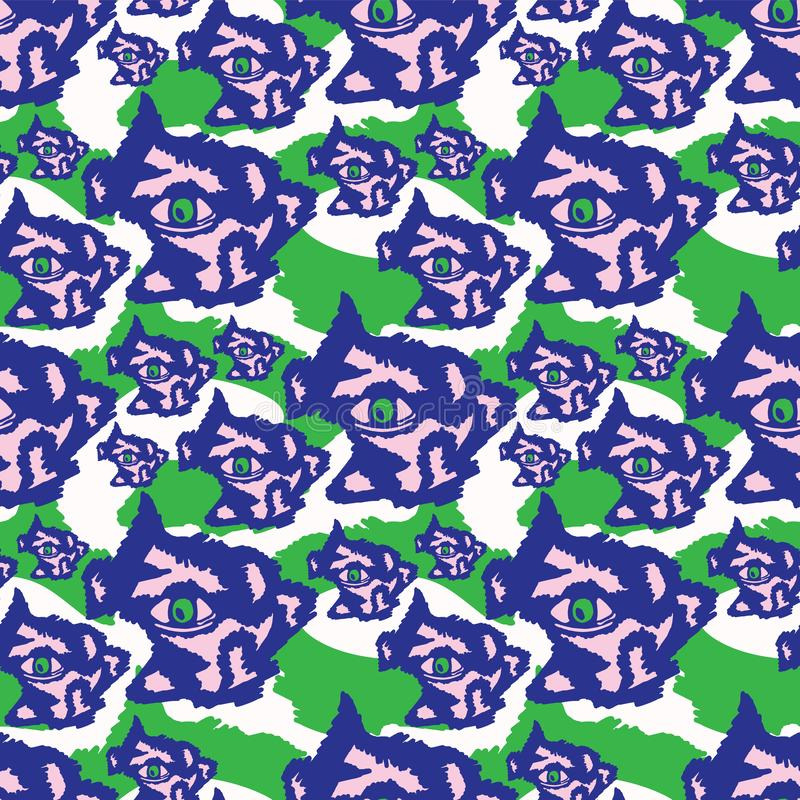 Błękitne purpury i Zielony Szorstki Abstrakcjonistyczny Ciemny oko royalty ilustracja