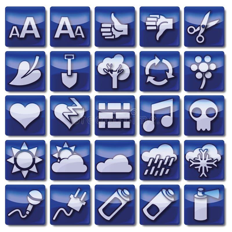 Błękitne sieci ikony 76 -100 ilustracja wektor