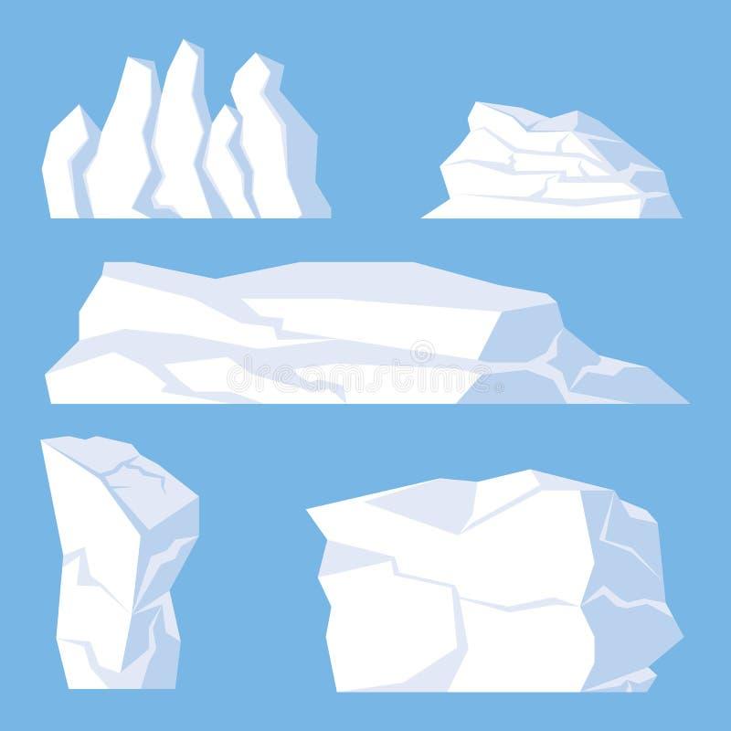 Błękitne tło kreskówki góry lodowa Ustawiać ilustracja wektor