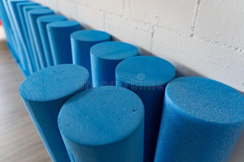 Błękitne trwanie pilates rolki z góry zdjęcia stock