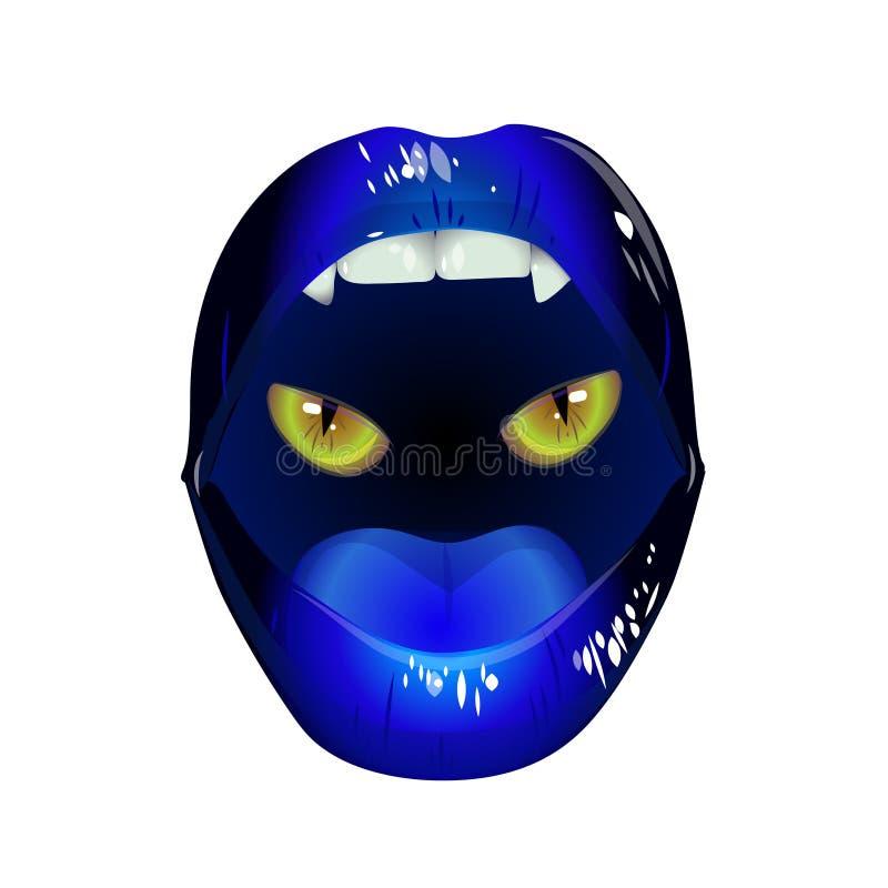Błękitne wargi z oczami kot ilustracji