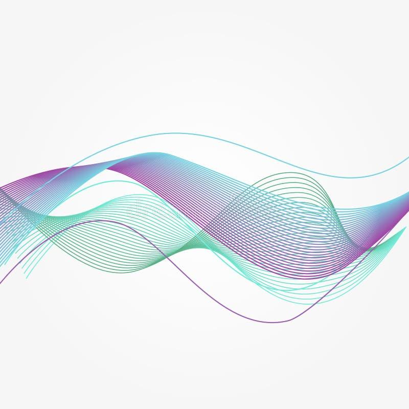 Błękitne Wektorowe muzyczne rozsądne fala Abstrakcjonistyczny energetycznej krzywy przepływ w nowożytnym stylu ilustracja wektor