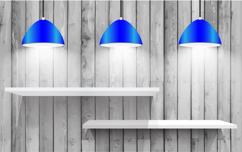 Błękitne wiszące lampy ilustracji