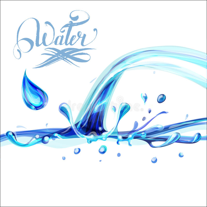 błękitne wody chełbotania krople; odosobniony wektor ilustracji