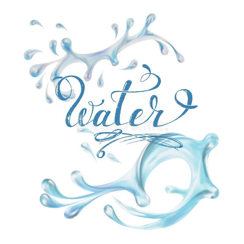 błękitne wody chełbotania krople; odosobniony wektor royalty ilustracja