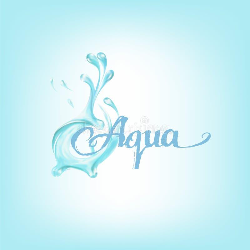 błękitne wody chełbotania krople; wektor ilustracja wektor