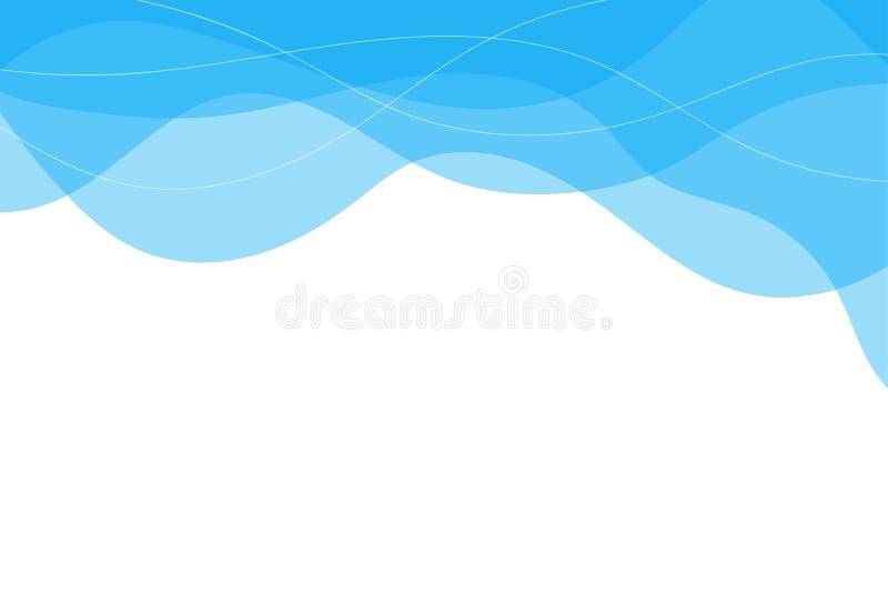Błękitne wody linii fala na odgórnego pojęcia tła abstrakcjonistycznym wektorze royalty ilustracja