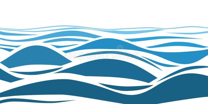 Błękitne wody morze macha abstrakcjonistycznego wektorowego tło ilustracji