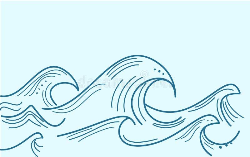 Błękitne wody morze macha abstrakcjonistycznego wektorowego tło Wodnej fali krzywy tło royalty ilustracja
