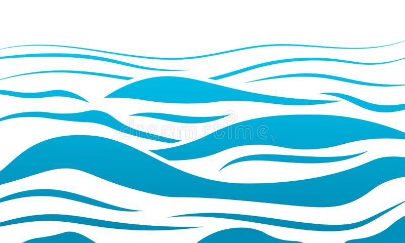 Błękitne wody morze macha abstrakcjonistycznego wektorowego tło Wodnej fali krzywy tło, kreskowa oceanu sztandaru ilustracja dla  zdjęcia stock