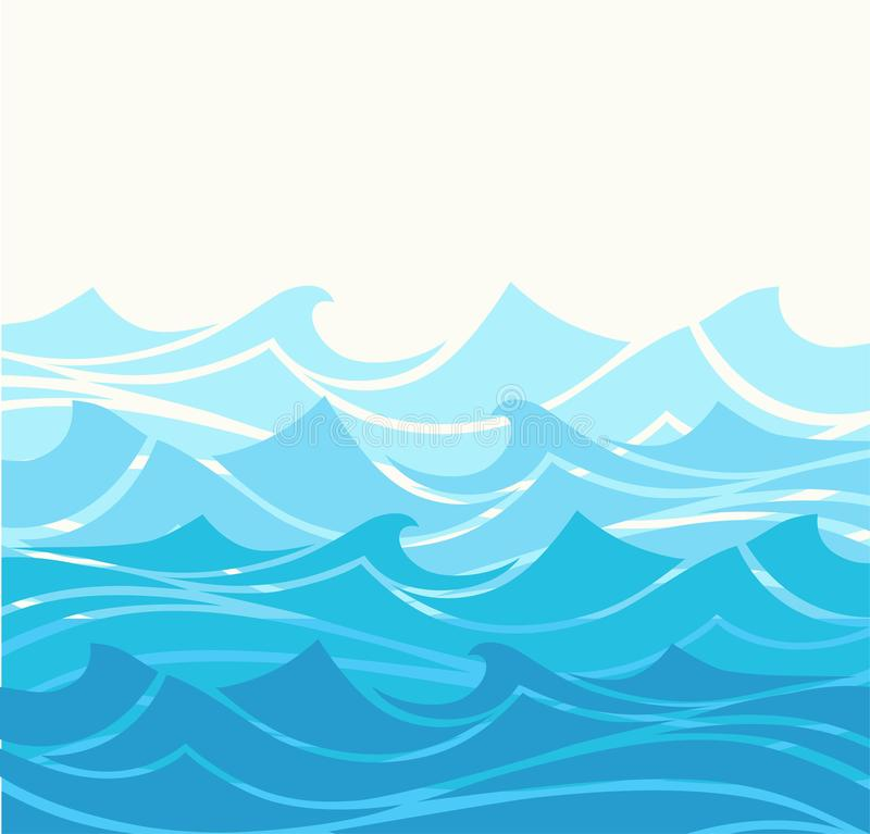 Błękitne wody morze macha abstrakcjonistycznego wektorowego tło Wodnej fali krzywy tło, oceanu sztandaru ilustracja ilustracji