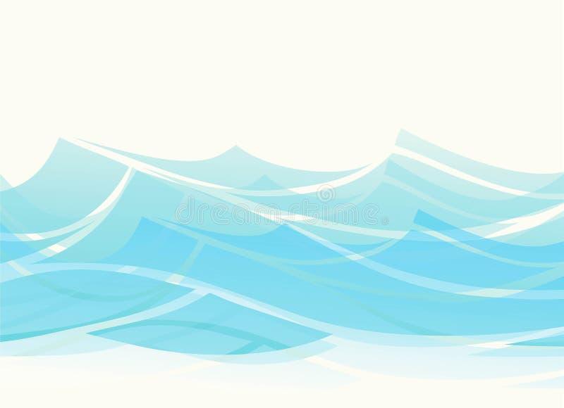 Błękitne wody morze macha abstrakcjonistycznego wektorowego tło Wodnej fali krzywy tło, oceanu sztandaru ilustracja royalty ilustracja