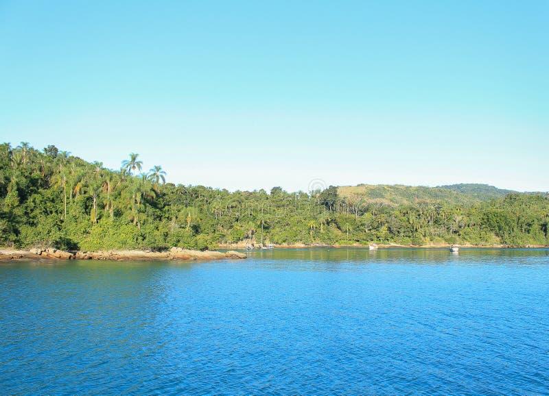 Błękitne wody obove niebieskie niebo obraz royalty free