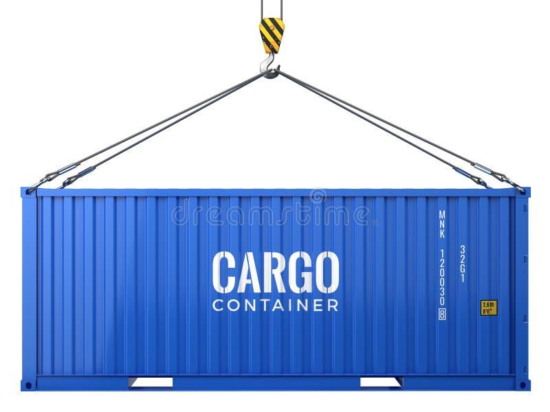 Błękitnego ładunku frachtowy kontener odizolowywający na białym tle royalty ilustracja