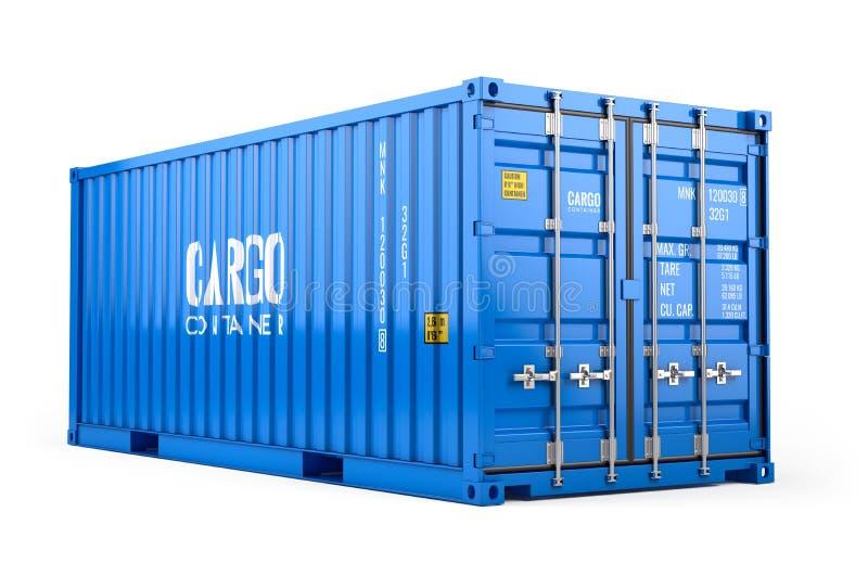 Błękitnego ładunku frachtowy kontener odizolowywający na białym tle ilustracja wektor