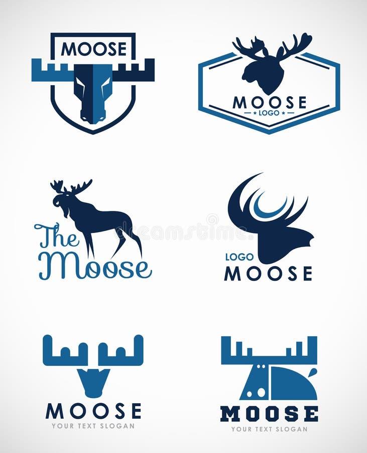 Błękitnego łosia amerykańskiego loga wektoru sztuki ustalony projekt royalty ilustracja