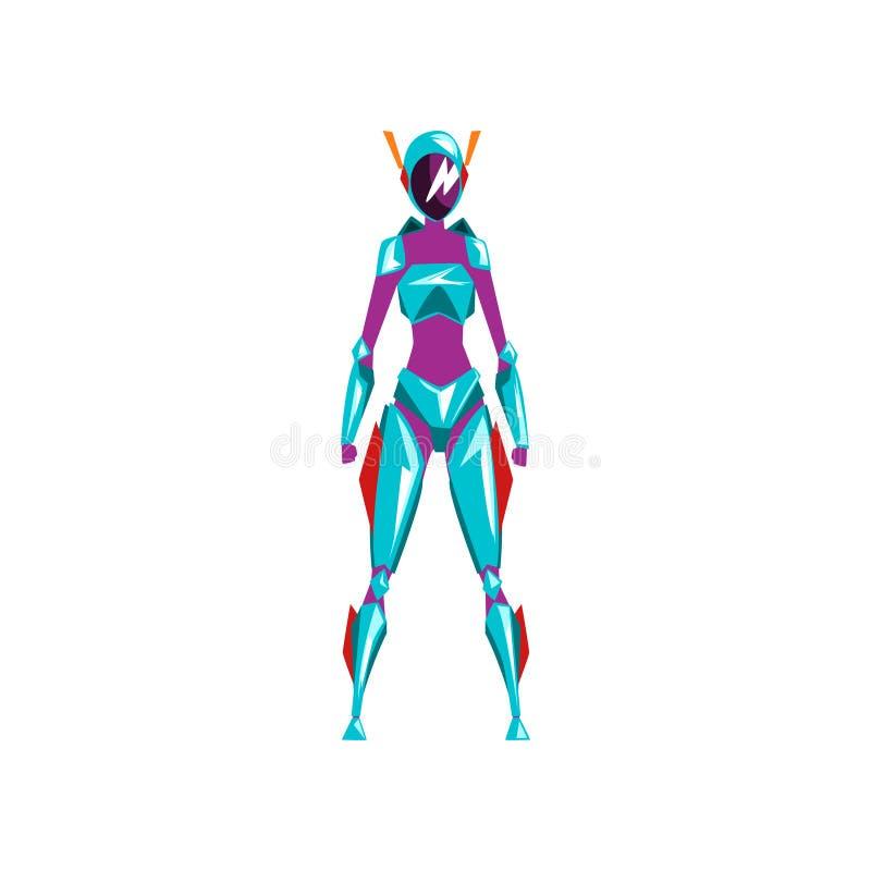 Błękitnego żeńskiego robota astronautyczny kostium, bohater, cyborga kostium, frontowego widoku wektorowa ilustracja na białym tl royalty ilustracja