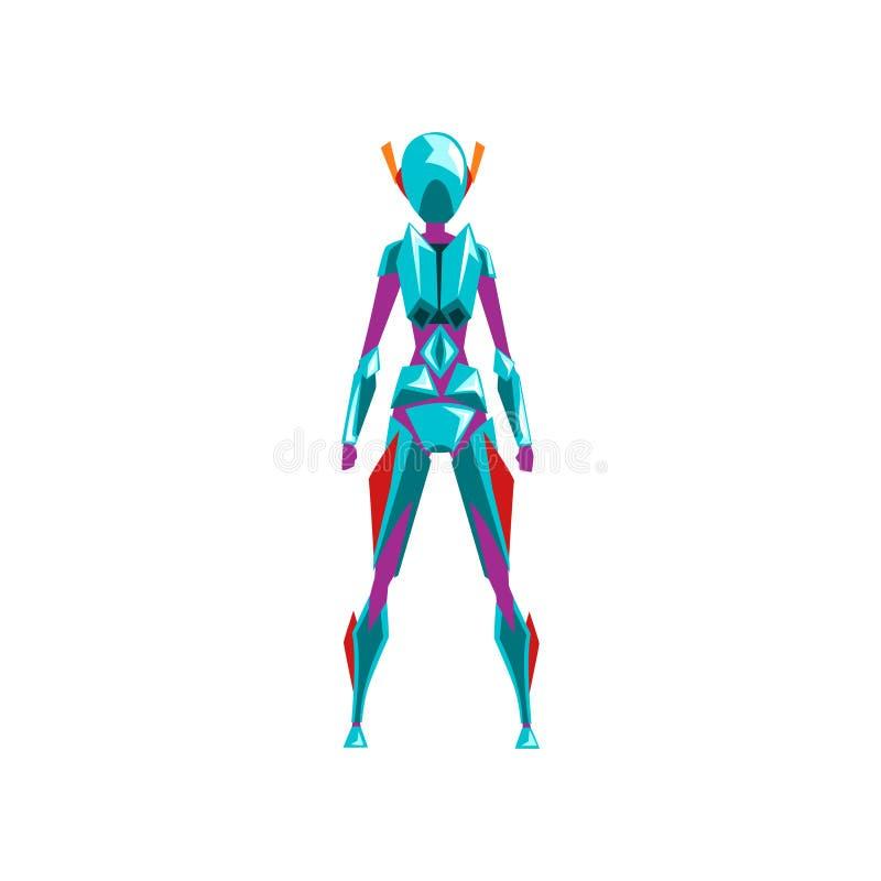 Błękitnego żeńskiego robota astronautyczny kostium, bohater, cyborga kostium, tylnego widoku wektorowa ilustracja na białym tle royalty ilustracja