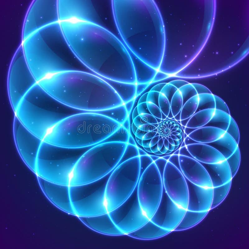 Błękitnego abstrakcjonistycznego wektorowego fractal pozaziemska spirala royalty ilustracja