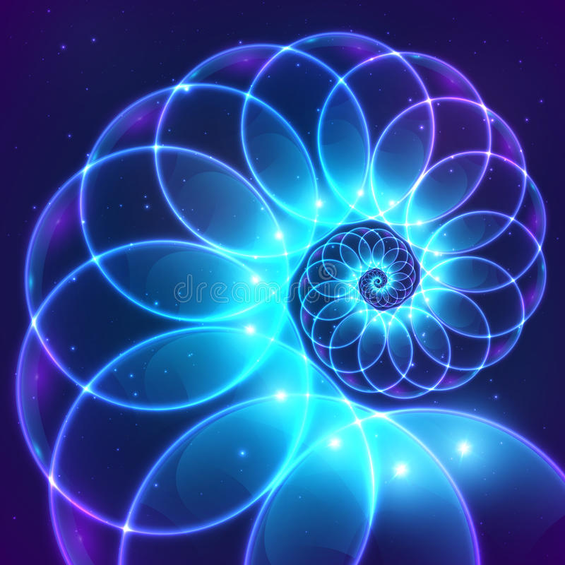 Błękitnego abstrakcjonistycznego wektorowego fractal pozaziemska spirala ilustracji