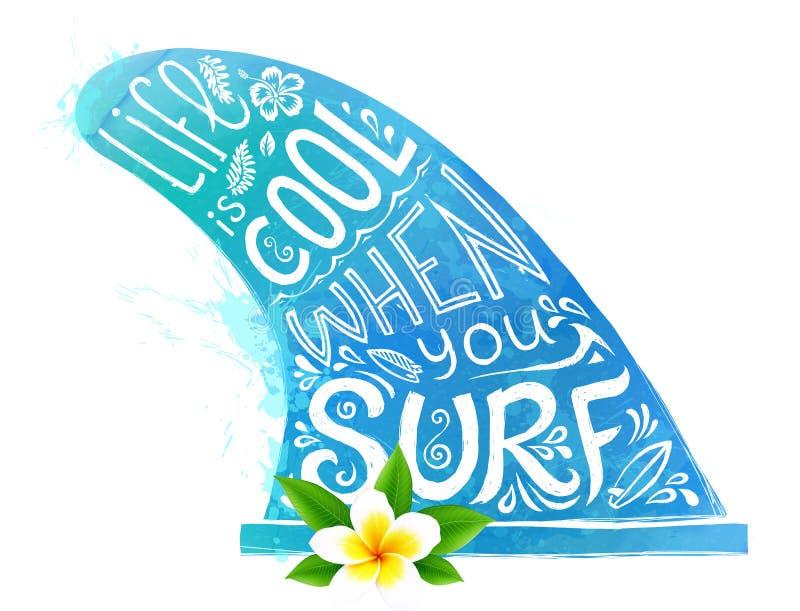 Błękitnego akwarela stylu surfingu żebra wektorowa sylwetka z biała ręka rysującym literowaniem i realistycznym Bali kwiatem odiz ilustracji