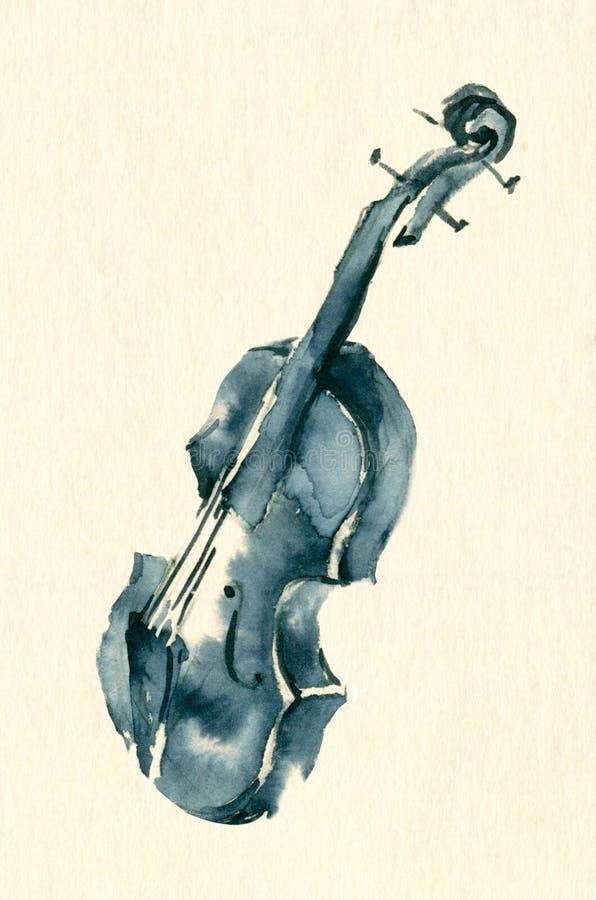 Błękitnego atramentu nakreślenia skrzypcowa ilustracja royalty ilustracja