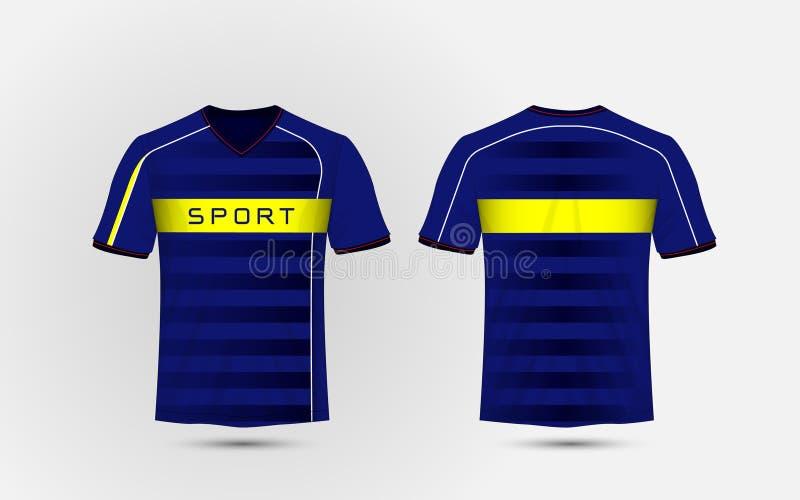 Błękitnego, białego i żółtego układu sporta futbolowa koszulka, zestawy, bydło, koszulowy projekta szablon royalty ilustracja