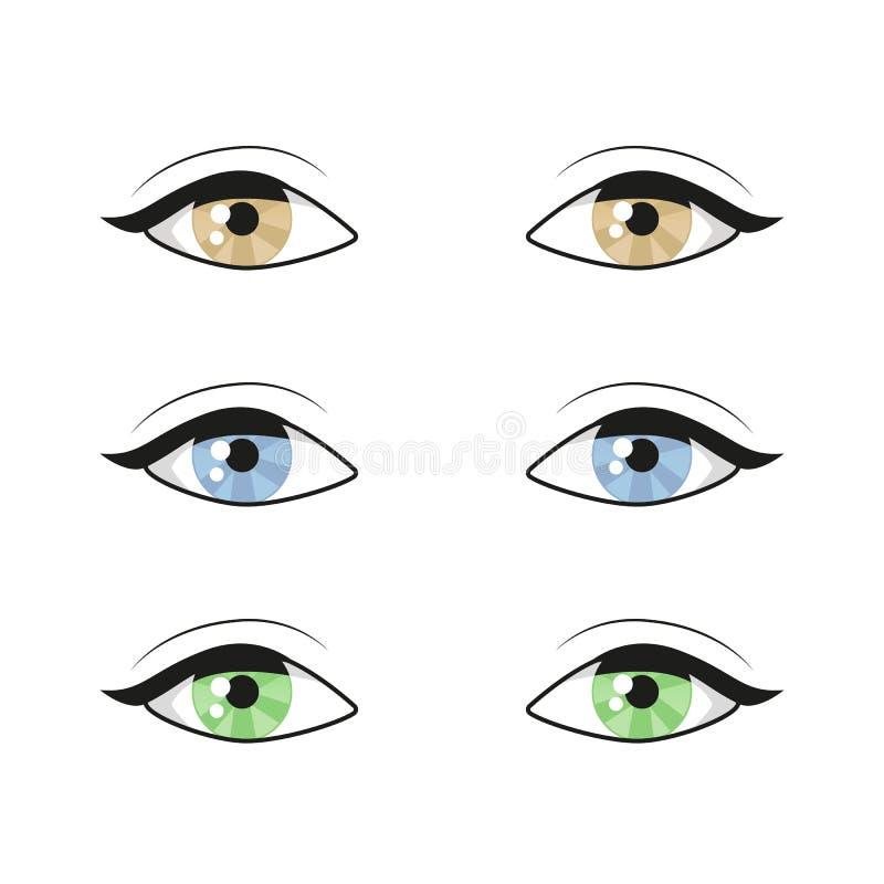 Błękitnego brązu zieleni oczy na białym tle zamkn?? oczy pi?kna twarz kobiety Oko logo Istota ludzka setu oczy zamknięci w górę w ilustracja wektor