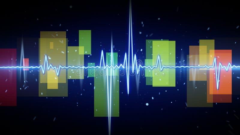 Błękitnego cyfrowego sinusa audio falowa forma royalty ilustracja