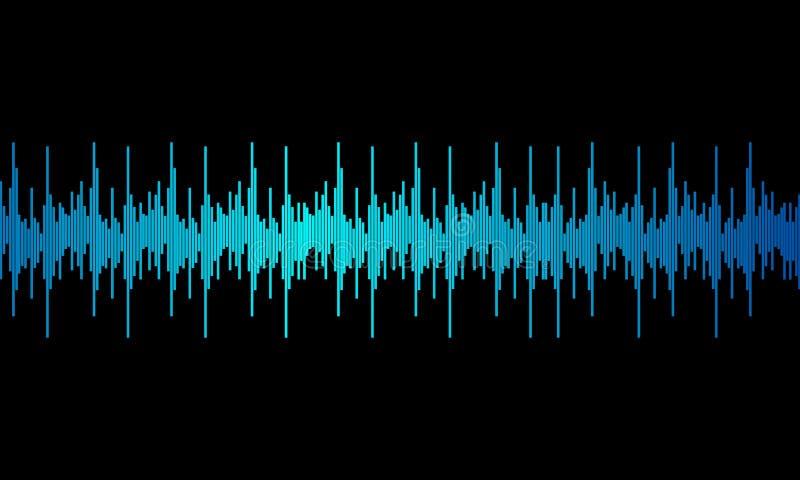 Błękitnego cyfrowego wyrównywacza audio rozsądne fale na czarnym tle, ilustracja wektor