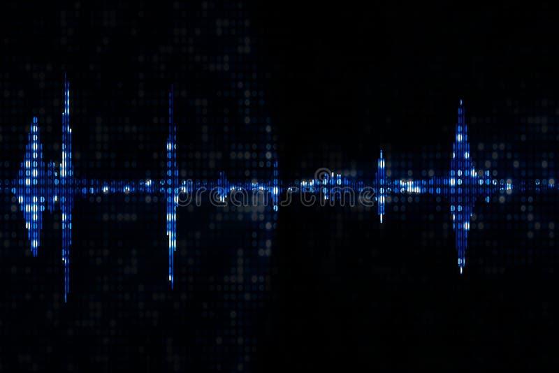 Błękitnego cyfrowego wyrównywacza audio widma rozsądne fala na czarnym backg royalty ilustracja