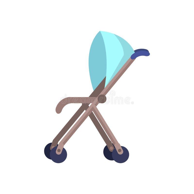 Błękitnego dziecka fracht Odizolowywający na bielu perambulator royalty ilustracja