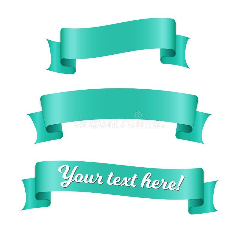 Błękitnego faborku sztandary ustawiający Stary rocznika stylu projekt Premia dekoracyjni elementy odizolowywający na białym tle obraz royalty free