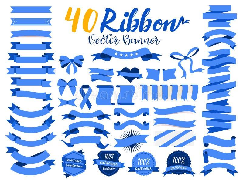40 Błękitnego faborku wektorowa ilustracja z płaskim projektem Zawrzeć graficznego element jako retro odznaka, gwaranci etykietka ilustracji